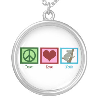 Peace Love Koala Silver Plated Necklace