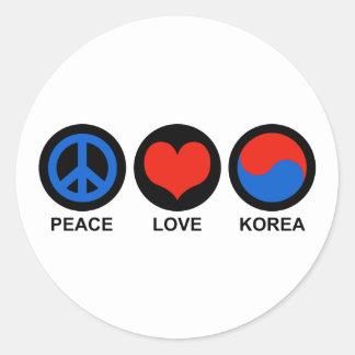 Peace Love Korea Classic Round Sticker