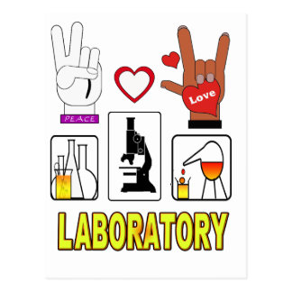 PEACE LOVE LABORATORY POSTCARD