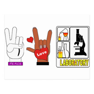 PEACE LOVE LABORATORY POSTCARD
