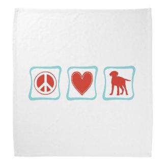 Peace Love Labrador Retrievers Squares Bandana