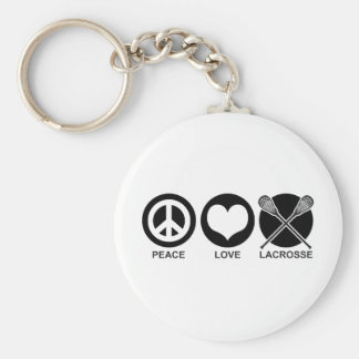 Peace Love Lacrosse Basic Round Button Key Ring