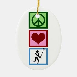 Peace Love Lacrosse Ceramic Oval Decoration