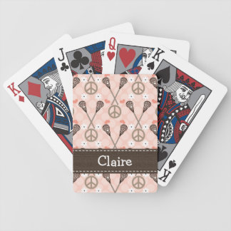 Peace Love Lacrosse Lax Bicycle Playing Cards