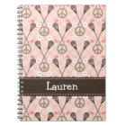Peace Love Lacrosse Lax Spiral Notebook Journal