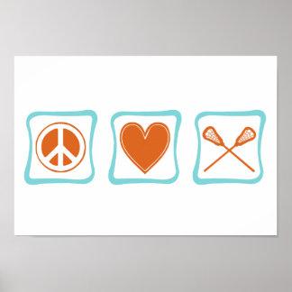 Peace Love Lacrosse Squares Posters
