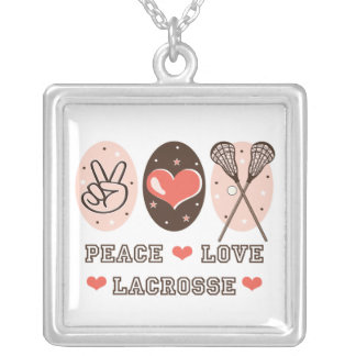 Peace Love Lacrosse Sterling Silver Necklace