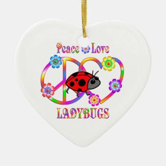 Peace Love Ladybugs Ceramic Heart Decoration