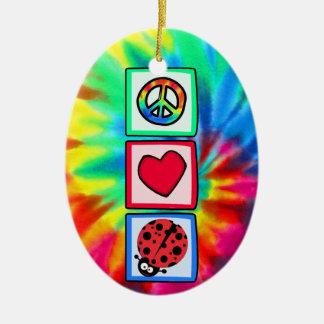 Peace, Love, Ladybugs Ceramic Oval Decoration
