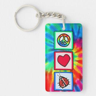 Peace, Love, Ladybugs Rectangle Acrylic Keychains