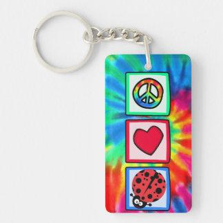 Peace, Love, Ladybugs Rectangular Acrylic Key Chains