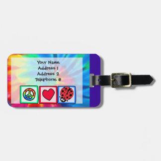 Peace, Love, Ladybugs Luggage Tag