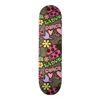 Peace, Love, Ladybugs Custom Skate Board