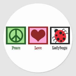 Peace Love Ladybugs Round Sticker