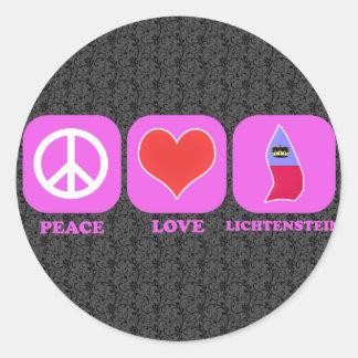 Peace Love Lichtenstein Round Sticker