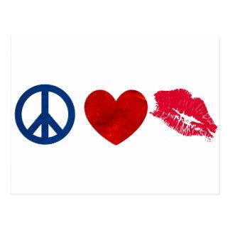 Peace Love Lipstick Kiss Post Card