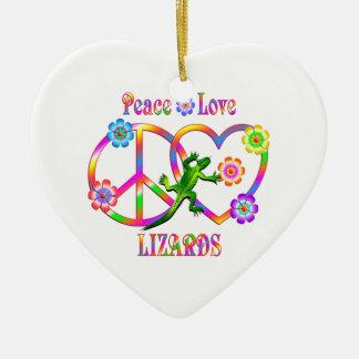 Peace Love Lizards Ceramic Heart Decoration
