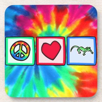 Peace, Love, Lizards Drink Coaster