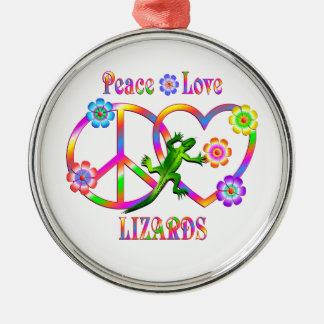 Peace Love Lizards Silver-Colored Round Decoration