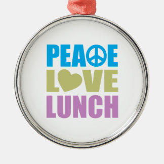 Peace Love Lunch Silver-Colored Round Decoration