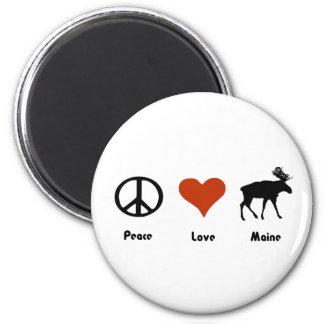 Peace Love Maine 6 Cm Round Magnet