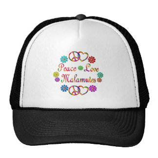 PEACE LOVE MALAMUTES TRUCKER HATS
