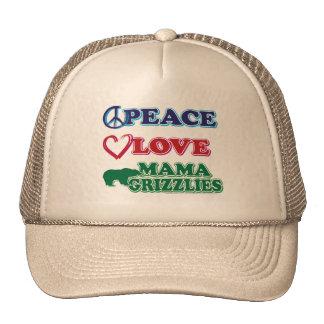 Peace-Love-Mama-Grizzlies Mesh Hats