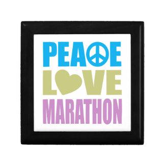 Peace Love Marathon Small Square Gift Box