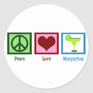 Peace Love Margaritas Classic Round Sticker
