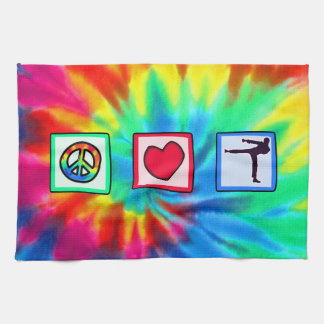 Peace, Love, Martial Arts Tea Towel