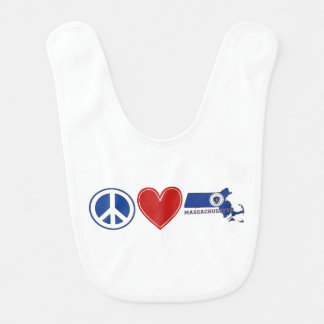 Peace Love Massachusetts Bib