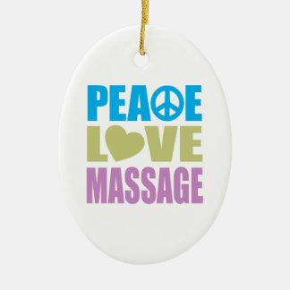 Peace Love Massage Ceramic Oval Decoration