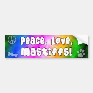 Peace Love Mastiffs Bumper Sticker