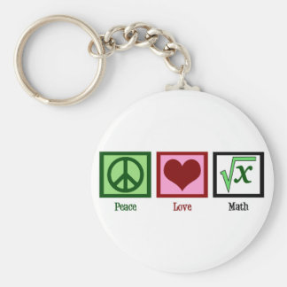 Peace Love Math Basic Round Button Key Ring