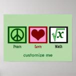 Peace Love Math Custom Poster