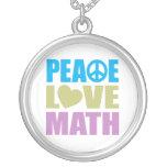 Peace Love Math Round Pendant Necklace