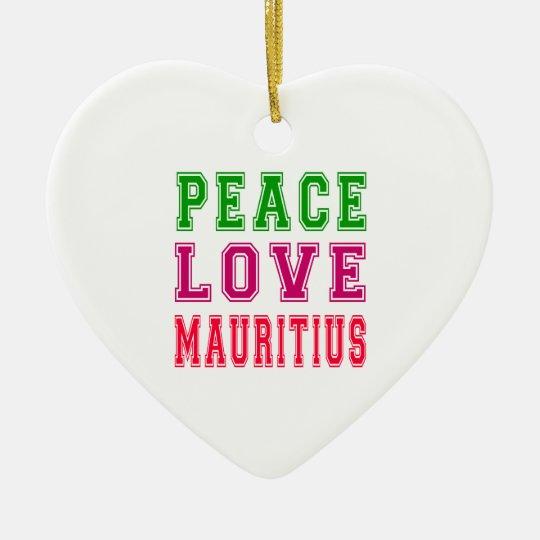 Peace Love Mauritius Christmas Ornament