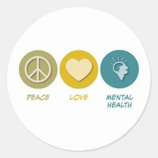 Peace Love Mental Health Classic Round Sticker