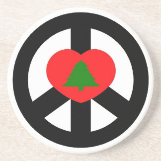 Peace, Love, Merry Christmas Beverage Coasters