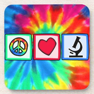 Peace, Love, Microscopes Beverage Coasters