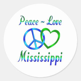 Peace Love Mississippi Round Sticker