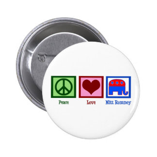 Peace Love Mitt Romney 6 Cm Round Badge