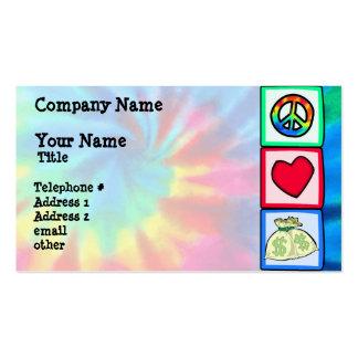 Peace, Love, Money Business Card Template