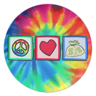 Peace, Love, Money Party Plate