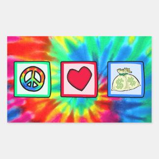 Peace, Love, Money Rectangular Sticker