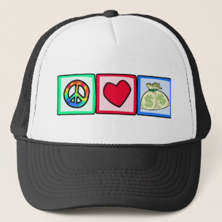 Peace, Love, Money Trucker Hat