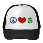 Peace love money trucker hat