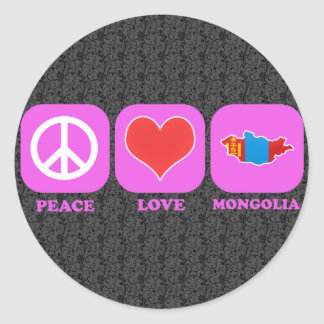 Peace Love Mongolia Classic Round Sticker