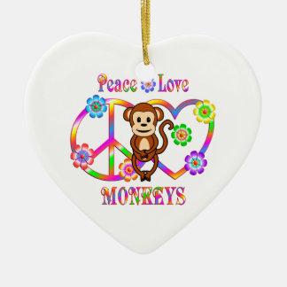 Peace Love Monkeys Ceramic Heart Decoration