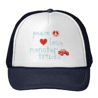 Peace Love Monster Trucks Trucker Hats